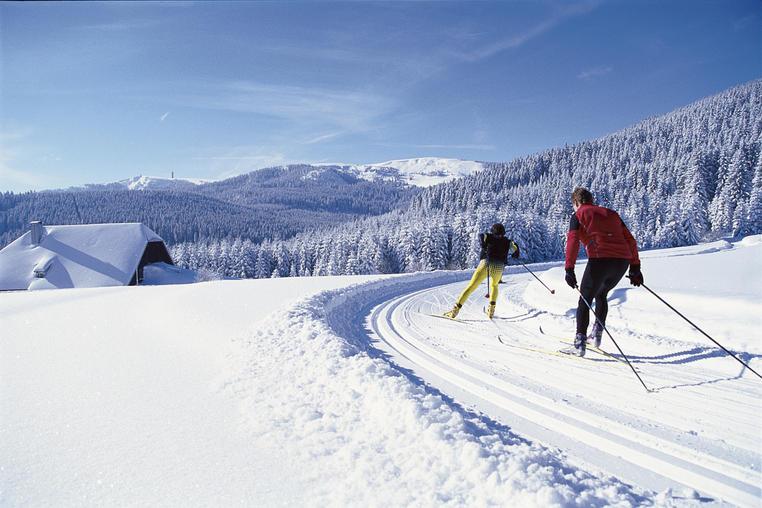 Hinterzarten im südlichen Schwarzwald, auf gut 900 Metern gelegen: Langlauf-Loipen rund um den Ort bieten Abwechslung fü den Wintersportler. Das Foto ist frei fü die Veröffentlichung in Katalogen von Reiseveranstaltern und in Verlagsproduktionen.
